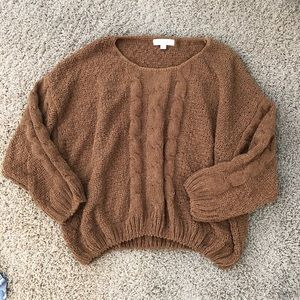Sweaters - Mustard/brown knit sweater